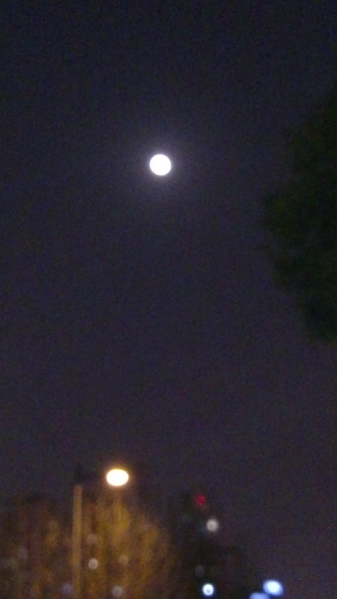 The moon on my walk home on Yuanxiaojie - even visible among the bright lights of Shanghai