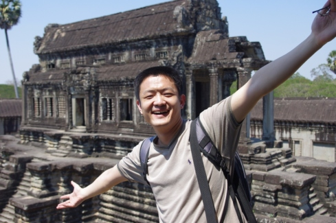 Li in front of the library at Angkor Wat - every place we turned there were ta dah moments!