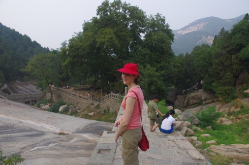 Here's my original purse earlier this year when we were climbing Mt. Tai