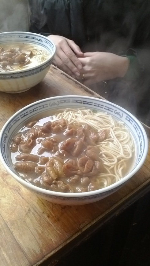 The noodles (with intestines topping)