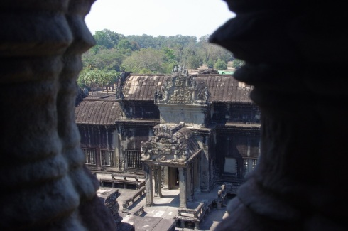 View from the very top of Angkor Wat - think 1000 years ago how high this was - even taller than the tallest trees