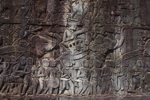 This intricate carving with elephants telling a story at Bayon temple (the temple of four faces)