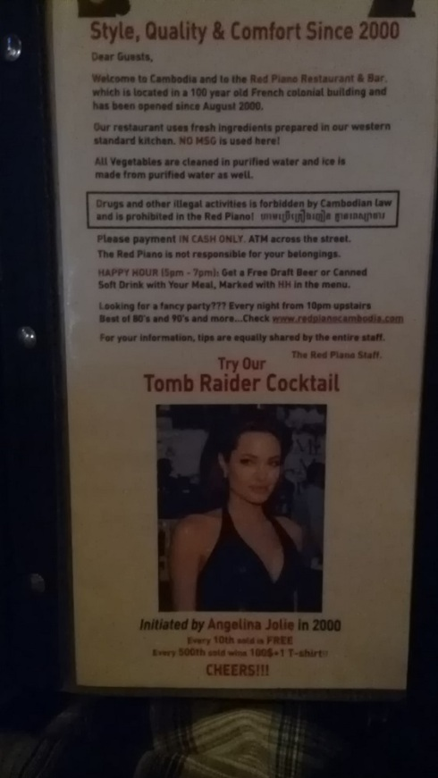 """The """"Tomb Raider"""" cocktail - of course I had to try (though mine wasn't free)"""
