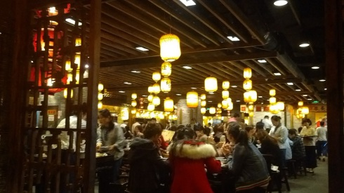 Ambience in the restaurant - the lights and tables like a traditional eatery