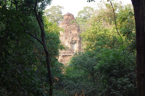 A hidden temple through the lush scenery