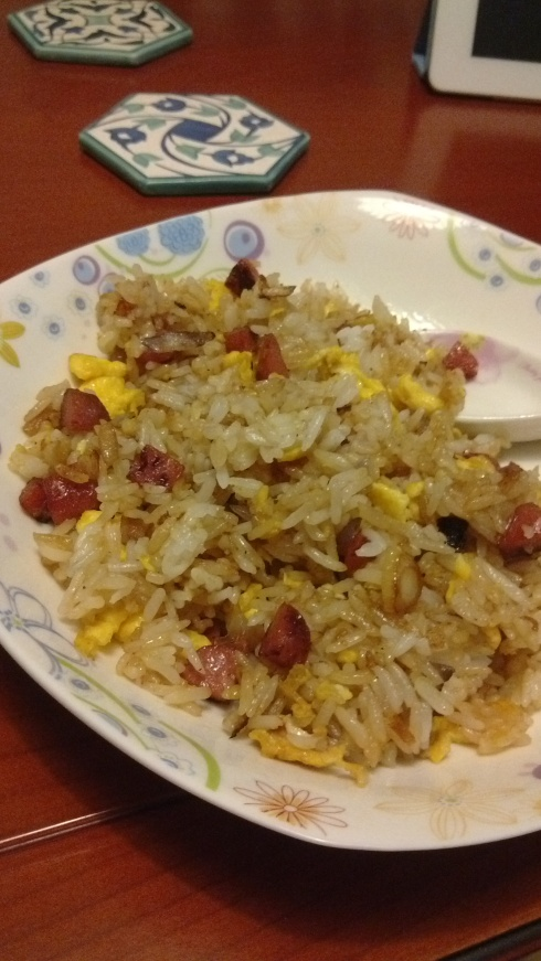 My first independent fried rice - eggs, onion and Taiwanese sausage