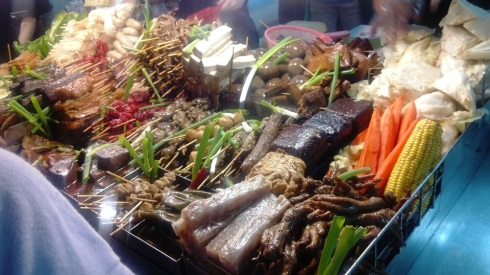 Photo from one of the street markets - all of the possible hot pot combinations displayed for your evening snack