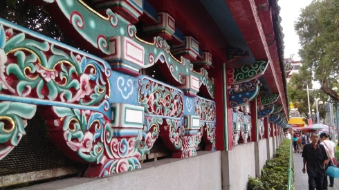 Intricately painted walls at Longshan temple