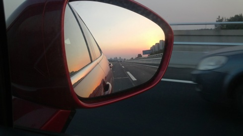 The best part of the road trip - going home with the sun setting behind you