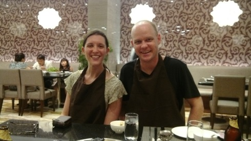 Catching up with a very good friend (and enjoying hot pot - hence the bibs)