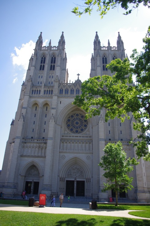 The front of the National Cathedral in Washington, D.C.