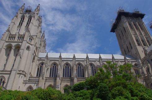 View from the side of the National Cathedral with a blue, blue sky.