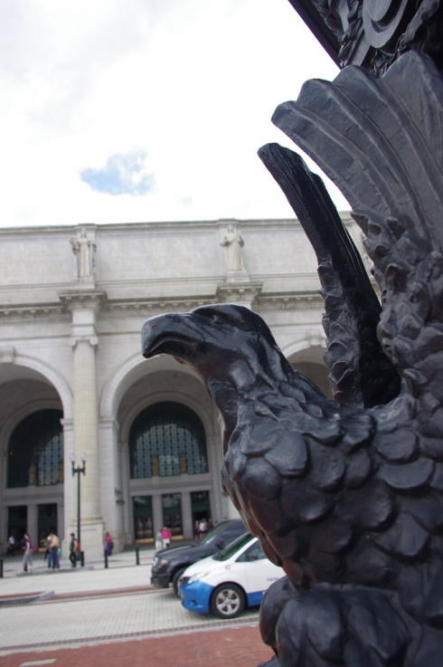 An eagle watching over Union Station in Washington DC