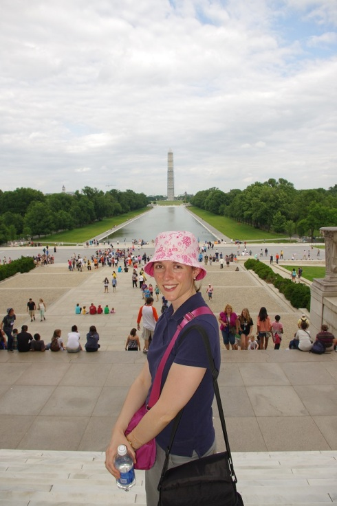 Grinning in DC before the reflecting pool