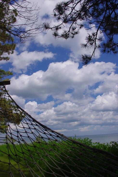 Puffy clouds & hammock