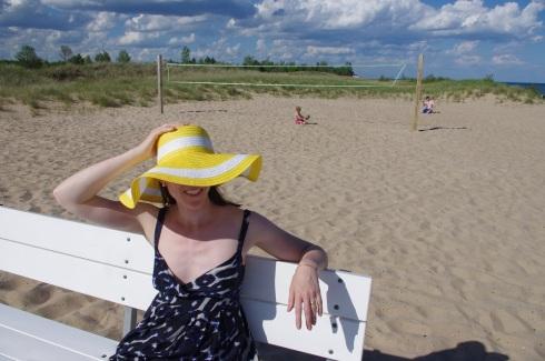 Yellow hat at beach