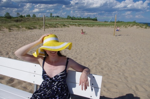 Yellow hat at beach