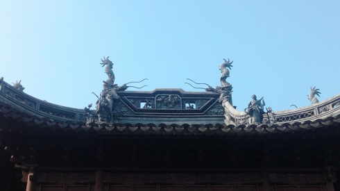 Traditional architecture in the garden highlighted by the sunny sky