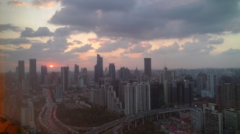 A stunning sunset over Yan An elevated road