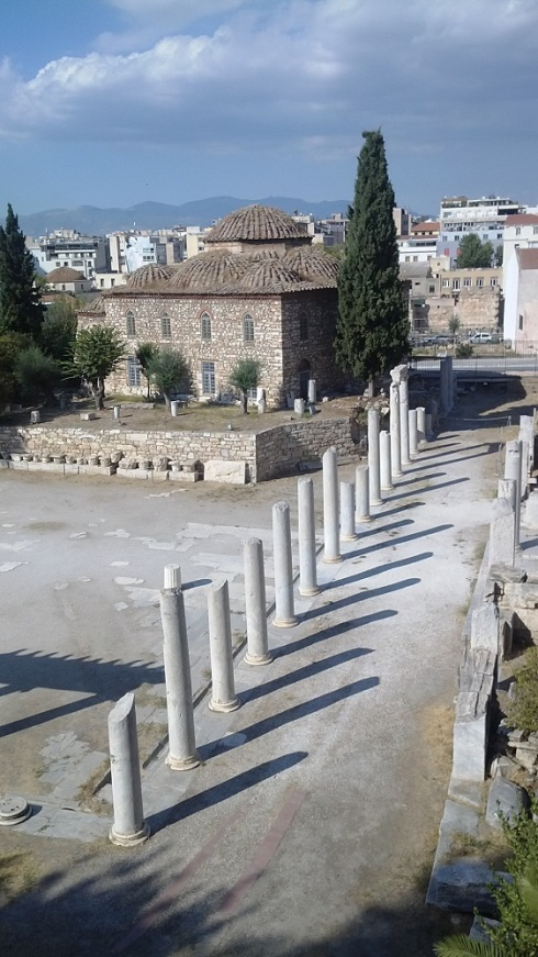 A view from over the fence of the Roman Agora