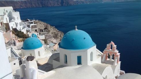 The three blue churches of Oia, Santorini