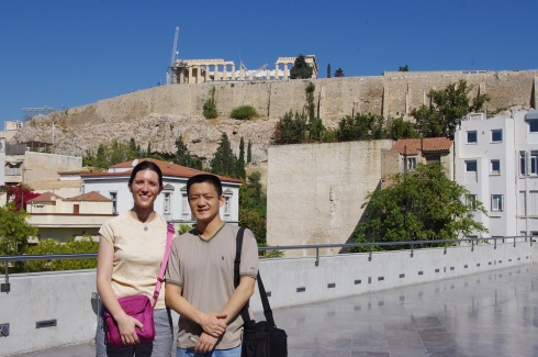 From the outdoor café of the museum - with the Parthenon as back drop