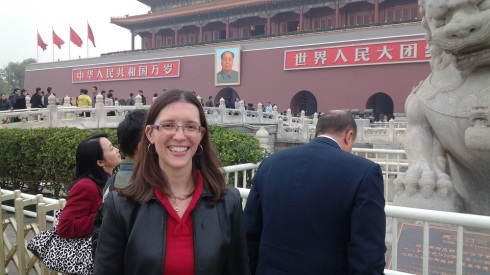 Posing with Chairman Mao - note the gray sky