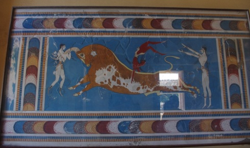 Recreation of the Minoan Bull mural in one of the rooms at the top