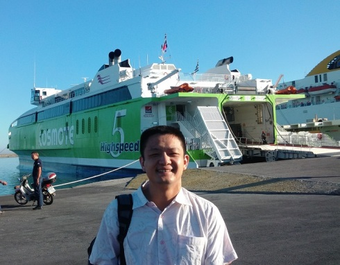 Li prior to boarding the ferry - he's not a fan of boats, but everything worked fine