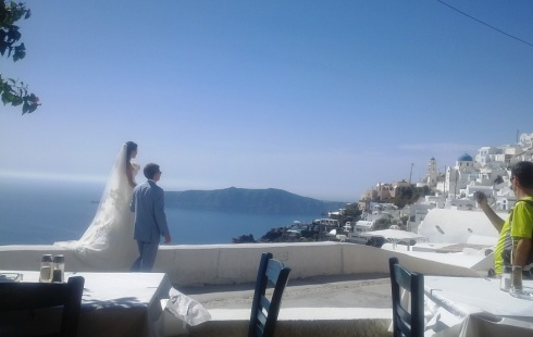 The bride and groom came to us - though others were photographing them too