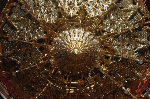 Close up of the chandelier