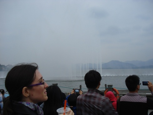 Hazy view of the fountain