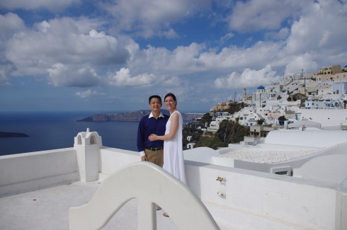 Together under the blue, blue sky - and dressed for the occasion