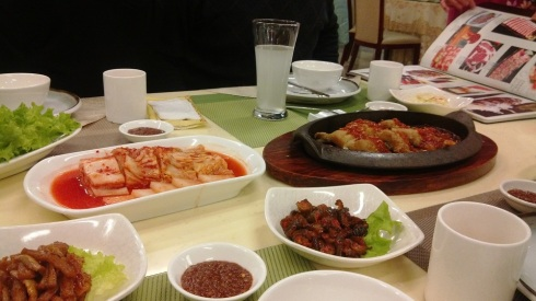 The kimchi was among the best I've had and the rice drink in the glass behind was phenomenal.