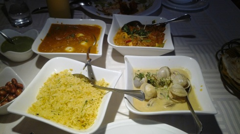 Curries, rice and vegetables